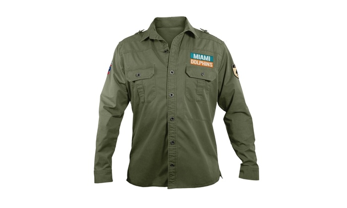 7629ef6b7 ... Little Earth 300647-DOLP-XL NFL Mens Military Shirt Xtra Large - Miami  Dolphins