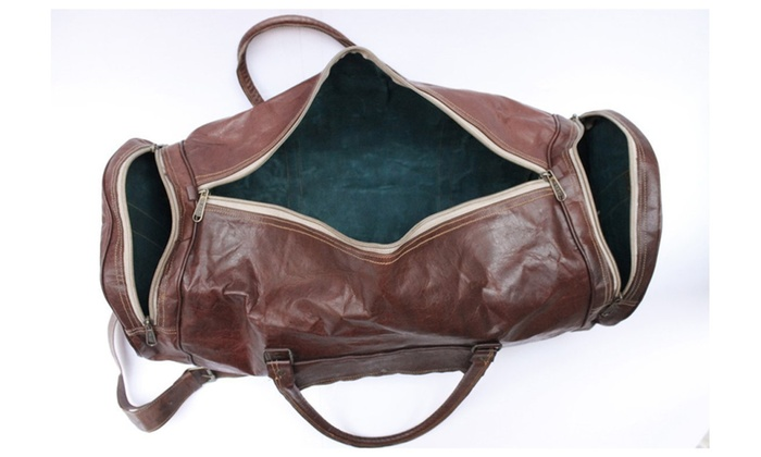 Handmade leather bag with Huipil