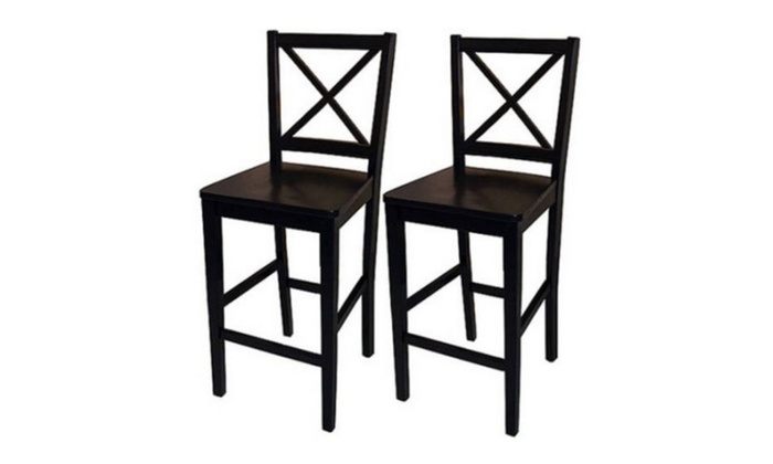 Fine Virginia Cross Back Counter Stools 24 Set Of 2 Black Spiritservingveterans Wood Chair Design Ideas Spiritservingveteransorg
