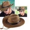 Zodaca Brown Mens Straw Cowboy Hat One Size Wide Brim Sun Hat