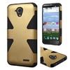 Insten Hard Hybrid Coated Silicone Case For Zte Stratos Gold/black
