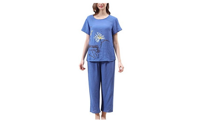 4PING Women Spring and Summer Pajamas Comfortable Breathable Sets