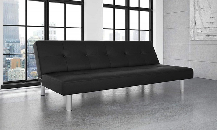 Wondrous Dhp Nola Futon Couch With Tufted Faux Leather Upholstery Modern Style Ncnpc Chair Design For Home Ncnpcorg