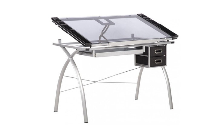 Drawing Desk Station Tempered Glass Adjustable Drafting Table