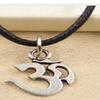 Yoga Om Pendant Necklace Choker Charm Black Leather Handmade Jewelry