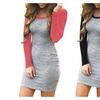 Women's Color Block Long Sleeve Bodycon Tshirt Dress