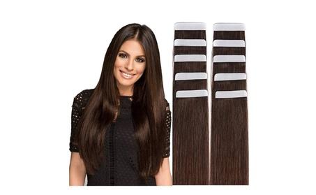 "Remy Tape Hair Extensions 20"" Straight Medium Brown 28751627-3026-4d3a-a4eb-9c39b5308a87"