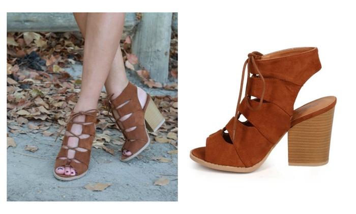 Qupid Lace Up Block Heel Sandals rZOF3