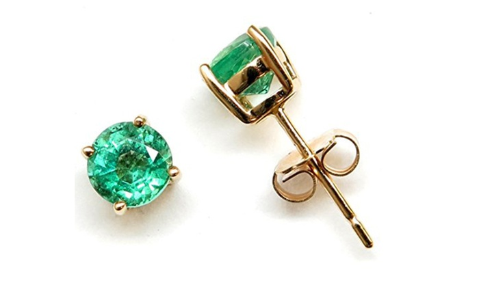 14k Yellow Gold Round 5 0mm Genuine Aaa Quality Emerald Stud Earrings
