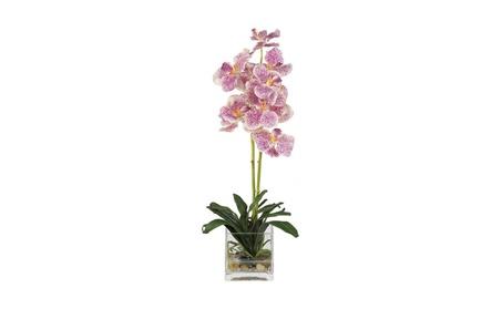 Nearly Natural Vanda with Glass Vase Silk Flower Arrangement - Purple 9f4596df-a8f1-469a-b4c8-64d5a2a97b18