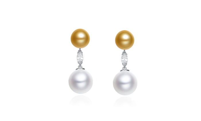 Cubic Ss Rhodium Plated Double Pearl Drop Earrings