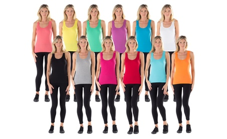 12 Pieces Pack Women's Ribbed 100% Cotton Tank Tops-Assorted Color 875cc5a0-4118-48c1-a8f5-34102b5966e4
