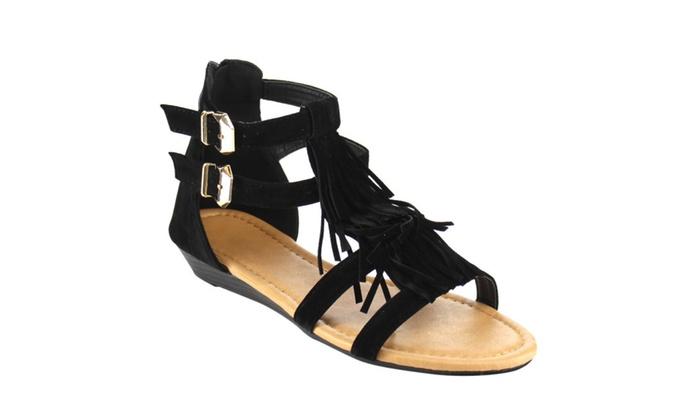 Beston CC15 Women's Fringe Strappy Gladiator Style Caged Wedge Sandals