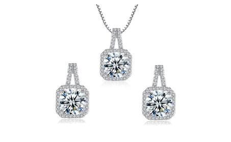 9ct Round Cubic Zirconia Stud Earring & Pendant Necklace Set Gift Box bbba4b87-c911-45d3-ab0e-c36ef2f3fd04