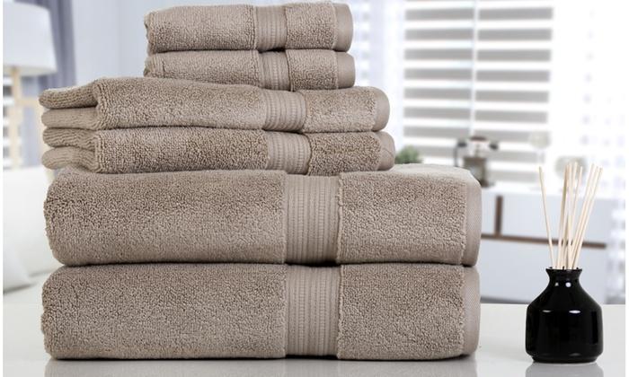 Aerosoft Zero Twist 610GSM 100% Cotton Bath Towel Set (6 Piece) ...