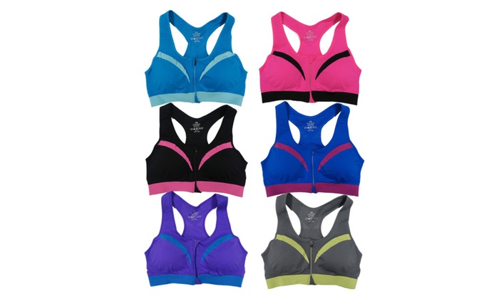 bc1cfc74bc5 Women 6 Pack Contrast Color Padded Open Front Zipper Sports Bras ...