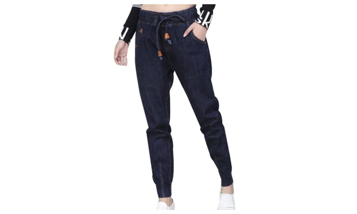 Women's Casual Simple Loose Fit Solid Jeans