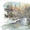 River in Woods Watercolor Landscape Metal Wall Art 28x12