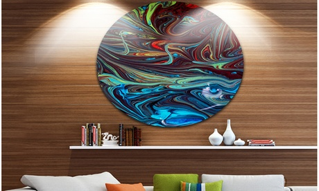 Red Blue Abstract Acrylic Paint Mix' Vibrant Abstract Metal Circle Wall Art d5c5850c-5ce0-4fc2-a441-eea4c6b32183