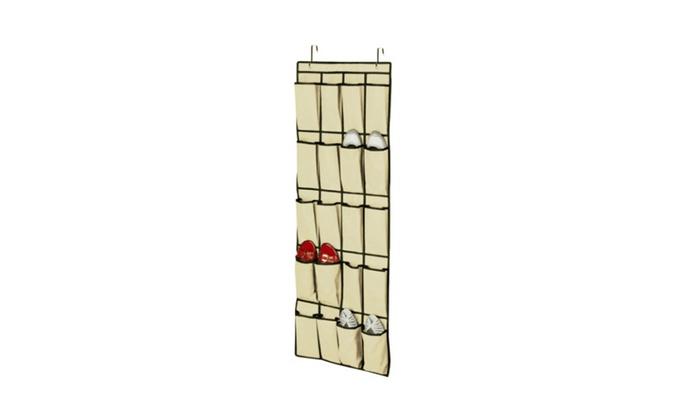 20 Pocket Over Door Shoe Organizer Space Saver Rack Hanging Storage