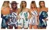 Women Off Shoulder Romper Strapless Floral Print Striped Beach Shorts