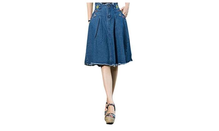 Women's Folk Style Pattern Embroidered A-line Skirts Denim Blue