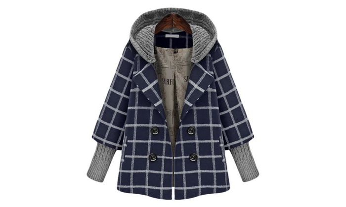 Women's Casual Buttons Up Simple Checkers Wool Coat