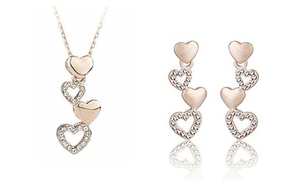 KATGI 18K Rosegold Plated Austrian Crystal Hearts Earrings and Necklace Set