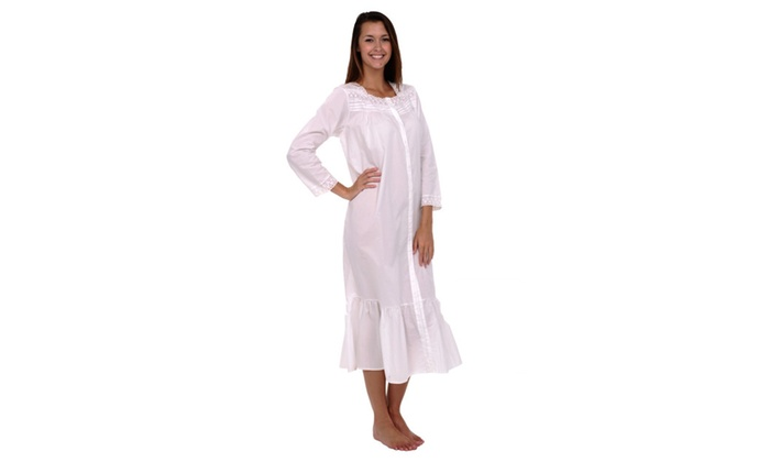 Alexander Del Rossa Women's 100% Cotton Victorian 3/4 Sleeve Nightgown