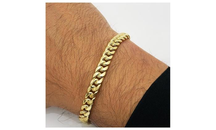 4b41985eb04b8 10K Yellow Gold 9.5mm Hollow Miami Cuban Men's Bracelet 8.5