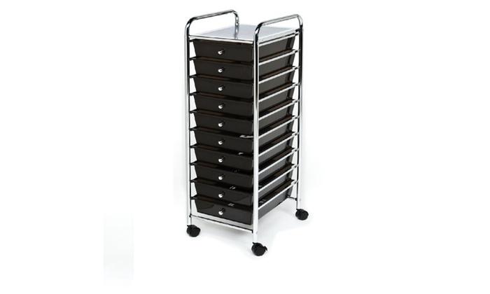 Seville Classics 10Drawer Organizer Cart Black Groupon