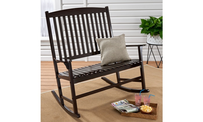 Terrific Up To 34 Off On Double Wood Outdoor Rocker Chair Groupon Onthecornerstone Fun Painted Chair Ideas Images Onthecornerstoneorg
