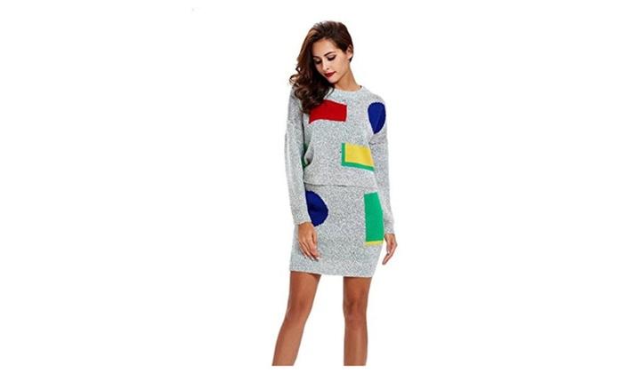Dressray Women Round Neck Knit Long Sleeve Slim Fit Sweater Skirt Set