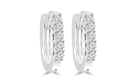 0.38 ct Ladies Round Cut Diamond Hoop Huggie Earrings