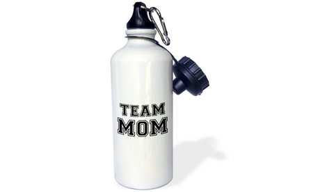 Water Bottle Team Mom black and white retro sporty or college sports font gifts