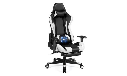 Costway Massage Gaming Chair Recliner Racing Chair w/ Lumbar Support & Footrest
