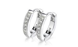 Sterling Silver & Genuine Crystal Huggie Hoop Earring