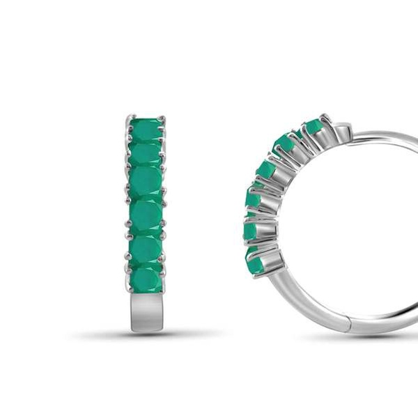 Genuine Emerald Ruby or Sapphire Stone Sterling Silver Stud Earrings 2.00mm