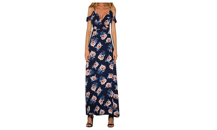 Women's Off Shoulder Floral Print Ruffles Beach Party Maxi Dresses
