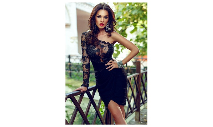 80f7265df6 Women s Sexy Lace Bodice One Sleeve Party Dress - Black   one size