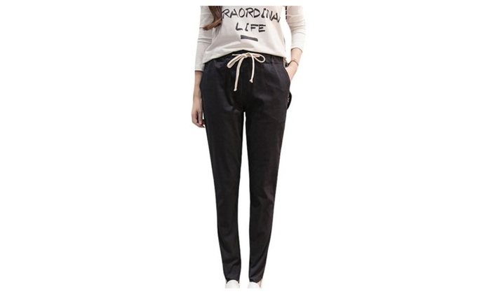 Women's Solid  Drawstring Closure Fashion Simple Pants