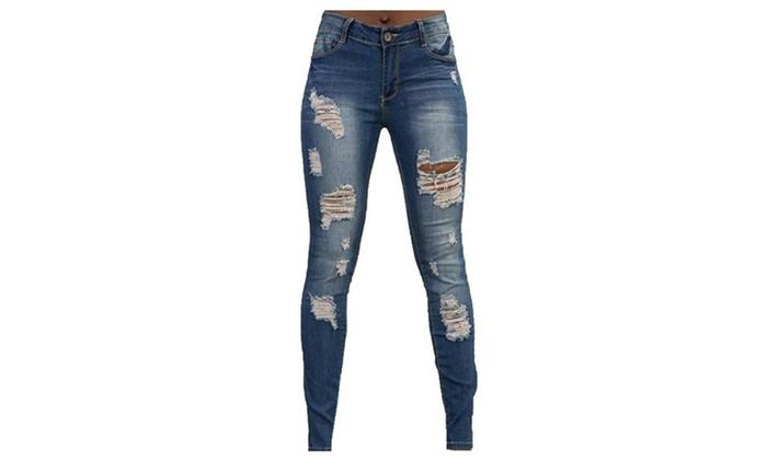 Women's ZipUpwithButtonClosure High Rise Casual Long Jeans