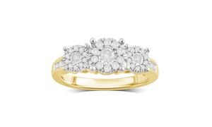 1/2 CTTW Diamond 3-Stone Wedding Ring in 18K Gold by DiamondMuse