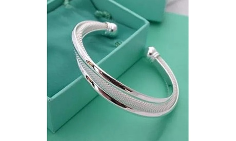 Women Jewelry 925 Sterling Silver Hypotenuse Network Bangles Cuff Bracelets