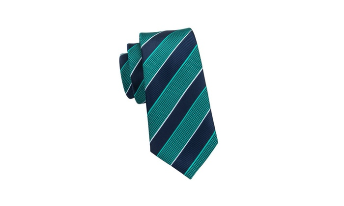 2e73b2117dcc Navy Light Green Striped 100% Silk Hanky Tie Set for Men