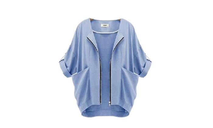 Womens Casual Zipper Fashion Loose Suit Coat Blazer Jacket