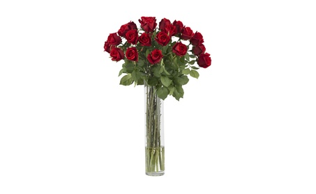 Nearly Natural Rosebud With Cylinder Silk Flower Arrangement Red e57609ef-bfc0-4c90-a7f9-e17a6b291ef0