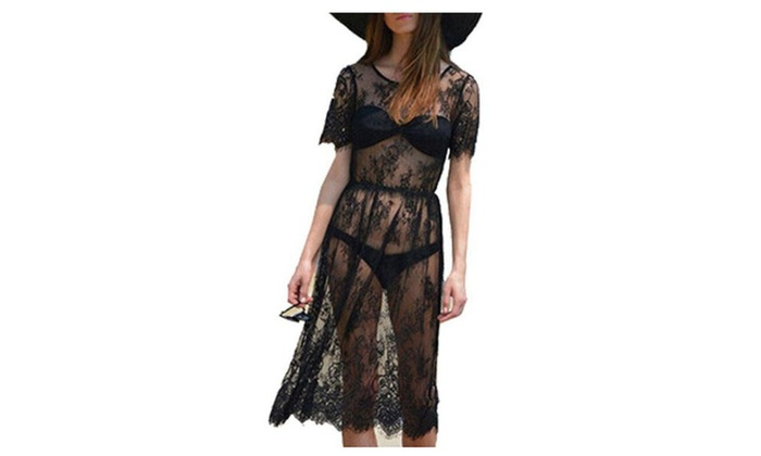 Women Lace See Through Short Sleeve Black Beach Dress