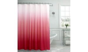 Creative Home Ideas Textured Shower Curtain with Bead Rings (13-Piece)