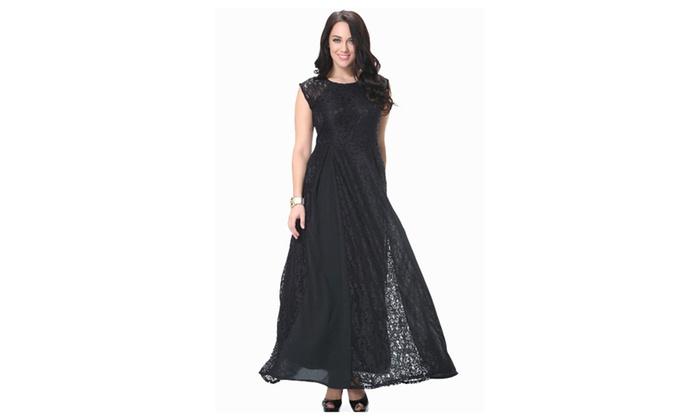 e7a99eeb8cb KettyMore Women Round Neck Sleeveless Plus Size Lace Dress - KMWD288 ...